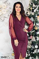 Женственное платье с имитацией запаха, длинные рукава из сетки на манжетах с 48 по 58 размер, фото 1