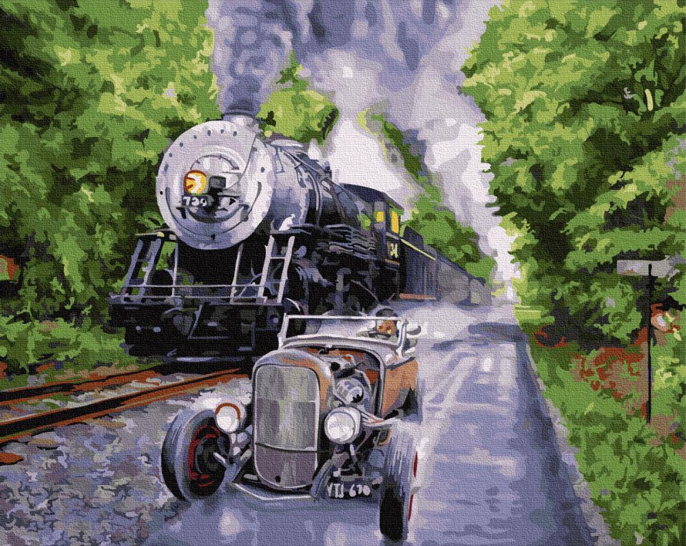 Картина рисование по номерам BrushMe Ретро гонки BRM27436 40х50 см Машины, Космос, Самолеты набор для росписи