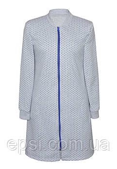 Женский теплый халат на молнии Luna Style футер 52-54 серый