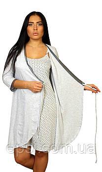 Женский халат из органического хлопка Luna Style 44 серый