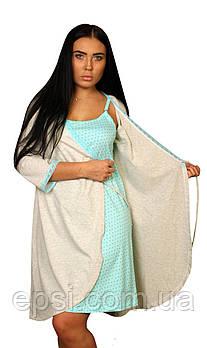 Женский халат из органического хлопка Luna Style 42 молочный меланж