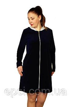 Женский халат с капюшоном Luna Style велюр 52-54 темно-синий