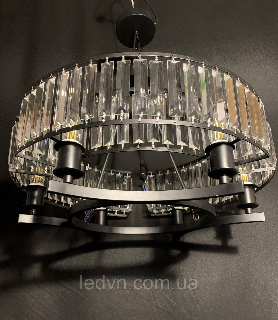 Шикарная современная хрустальная люстра на 6 ламп черная