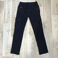 УТЕПЛЁННЫЕ ,Котоновые брюки с накладными карманами на флисе для мальчиков. Размеры -134- см.GRACE