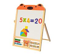 Деревянная игрушка досточка, двусторонний мольберт со счетами и цифрами Limo Toy MD 1028 мишка