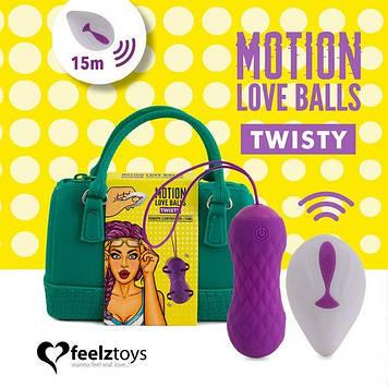 Вагинальные шарики с массажем и вибрацией FeelzToys Motion Love Balls Twisty с пультом ДУ, 7 режимов Bomba💣