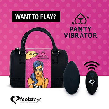 Вибратор в трусики FeelzToys Panty Vibrator Black с пультом ДУ, 6 режимов работы, сумочка-чехол Bomba💣