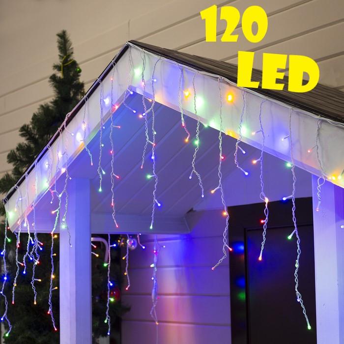 Уличная новогодняя гирлянда бахрома разноцветного свечения   Мультиколор Xmas 120 LED 3,3*0,7 м (белый провод)