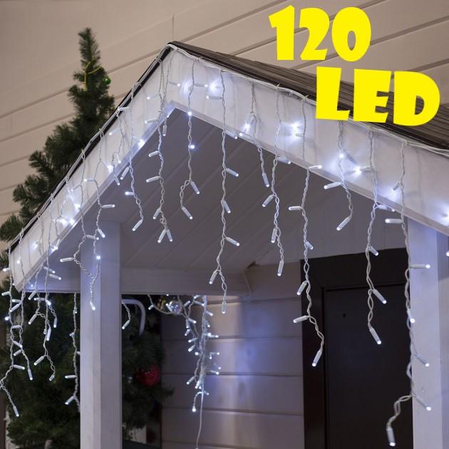 Уличная новогодняя гирлянда бахрома белого холодного свечения Xmas 120 LED 3,3*0,7 м (белый провод)