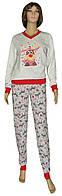 NEW! Женские домашние новогодние костюмы на байке - 18309 Олени коттон начес Серый с красным ТМ УКРТРИКОТАЖ!