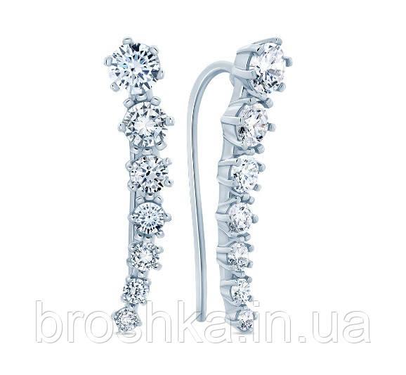 Серьги с камнями вдоль мочки уха серебро с родиевым покрытием