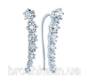 Серьги с камнями вдоль мочки уха серебро с родиевым покрытием, фото 2