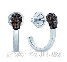 Срібні сережки сірник з родієвим покриттям та чорним камінням Україна