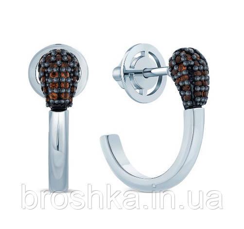 Серебряные серьги спичка с родиевым покрытием, фото 2