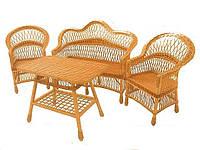 Комплект плетенной мебели 2 кресла+диван+стол обеденный