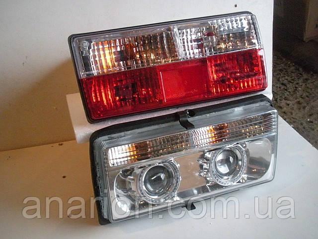 Передние+задние фары на ВАЗ 2107 №1 хромированные.