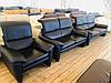 М'який шкіряний чорний комплект Gutegemeinschaft 3/2/1 диванів, фото 4