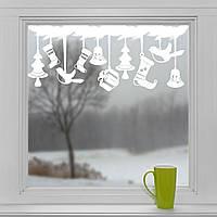 Новогодние наклейки на окна для дома, витрин магазинов, кафе, кухни, детской 800 х 325 мм Игрушки Белая