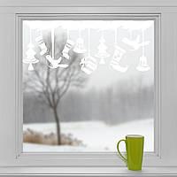 Новогодние наклейки на окна для дома, витрин магазинов, кафе, кухни, детской1110х500мм игрушки белая