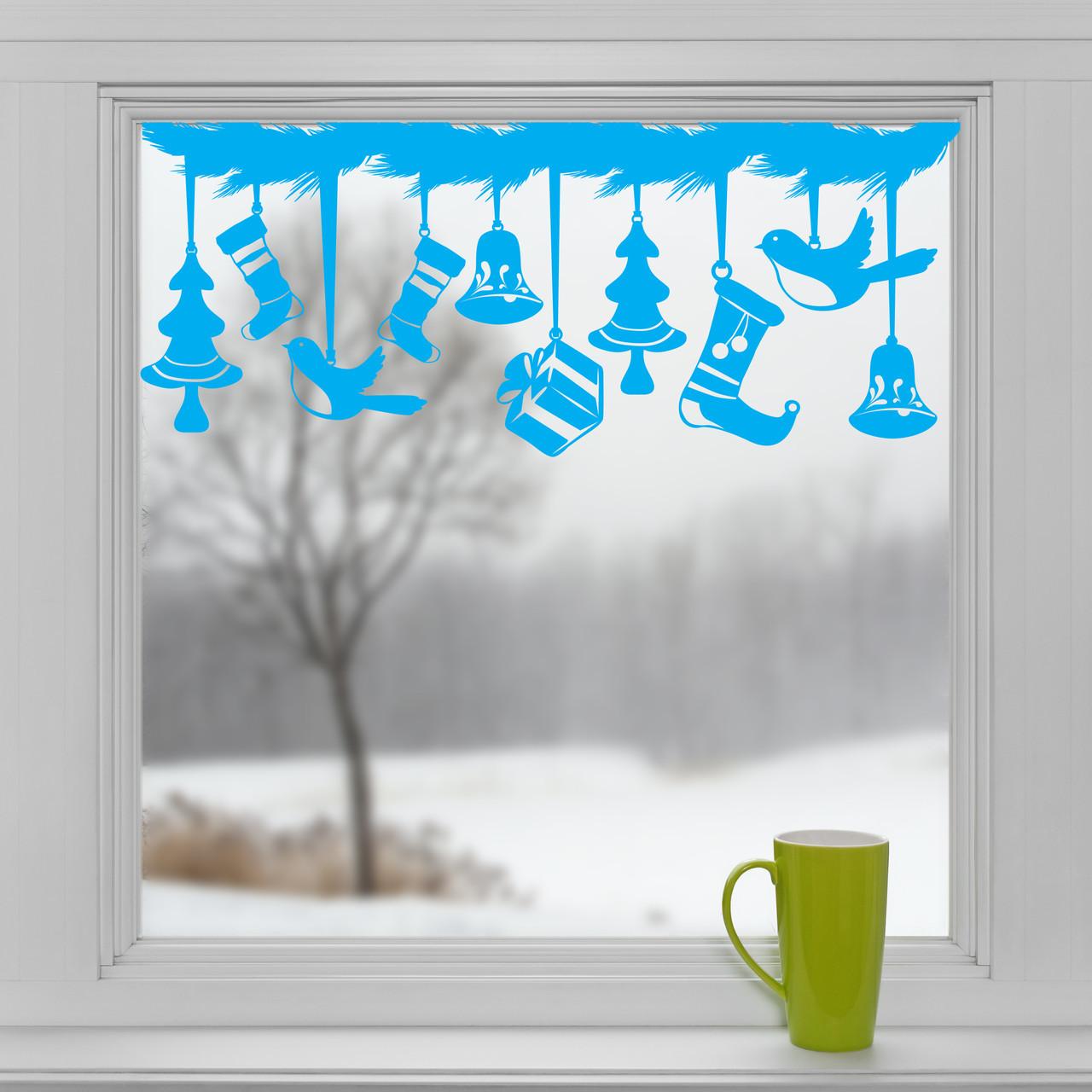 Новогодние наклейки на окна для дома, витрин магазинов, кафе, кухни, детской 1100х500 мм Еловая ветвь Три окна