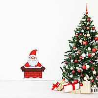 Новогодние наклейки на окна для дома, витрин магазинов, кафе, кухни, детской 740 х 900 мм Санта в дымоходе
