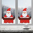 Новогодние наклейки на окна для дома, витрин магазинов, кафе, кухни, детской 740 х 900 мм Санта в дымоходе, фото 3