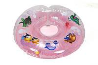 """Двухсторонний круг для плавания на шею """"Дельфин"""" розовый для деток 0+"""
