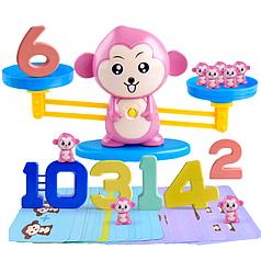 Обучающая счету настольная игра для детей математические весы Сохрани баланс обезьянки розовые BS773Р