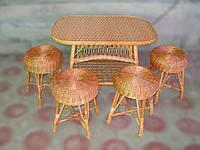 Комплект плетенной мебели 4 табурета+стол обеденный, фото 1