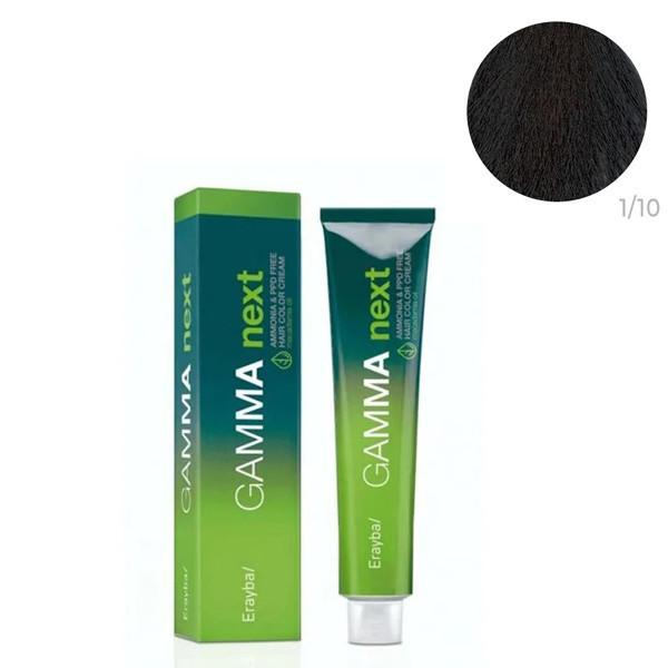Безаммиачная крем-краска для волос Erayba Gamma Neхt 1/10 Пепельный черный 100 мл