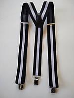Подтяжки мужские для брюк классические Paolo Udini темно - синий с белой полосой