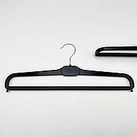 Плечики вешалки тремпеля для брюк и юбок пластиковые W-BV41 черного цвета