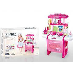 Детская игровая кухня 63 см со звуком и светом с крана течет вода Bambi WD-P15-R15 розовая
