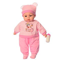 Детская музыкальная, говорящая мягкая кукла пупс с бутылочкой Limo Toy M 3860-2 UA
