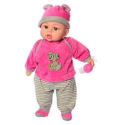 Детская музыкальная, говорящая мягкая кукла пупс с бутылочкой Limo Toy M 3860-4 UA