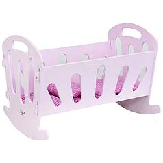 Детская деревянная кроватка для кукол Мася розовая (8001)