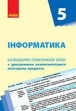 Інформатика 5 клас Календарно-тематичний план Бондаренко О. Ранок