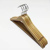 Деревянные вешалки для одежды Бук светлые лакированные, 5 штук