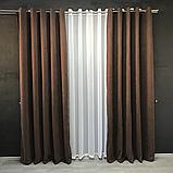 Комплект штор Petek на люверсах   Штори на люверсах   Шторы с подхватами   Темно-коричневые шторы  , фото 2