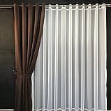 Комплект штор Petek на люверсах   Штори на люверсах   Шторы с подхватами   Темно-коричневые шторы  , фото 3