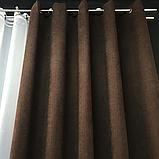 Комплект штор Petek на люверсах   Штори на люверсах   Шторы с подхватами   Темно-коричневые шторы  , фото 4