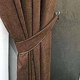 Комплект штор Petek на люверсах   Штори на люверсах   Шторы с подхватами   Темно-коричневые шторы  , фото 5