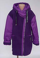 Детское пальто для девочки на молнии с капюшоном (140-158 р)