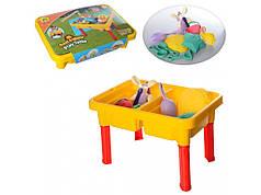 Детский игровой столик-песочница с аксессуарами и крышкой Metr+ HG-156