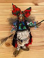 """Интерьерная игрушка, высота 40 см, сувенир, оберег ручной работы, хендмейд """"Баба Яга"""""""