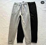 Топовые спортивные штаны женские Трехнить на флисе. Цвета:  черный, меланж  Размеры - 42-44, 44-46, фото 2