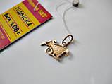 Золотой Кулон знак зодиака ОВЕН - 1.08 грамма ЗОЛОТО 585 пробы, фото 5