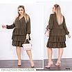 Платье короткое низ рюш хлопковый трикотаж 50-52,54-56,58-60,62-64, фото 2