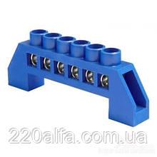 Шина нульова з ізолятором для кріплення на Din-рейку 12 отворів.