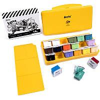 Гуаш Arrtx 18 кольорів по 30 мл (AJG-001), жовта коробка